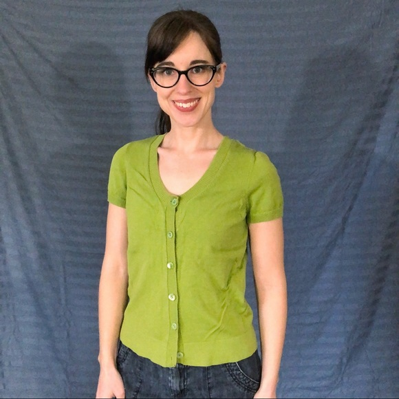 Ann Taylor Sweaters - Ann Taylor Green Short Sleeved Cardigan, size S